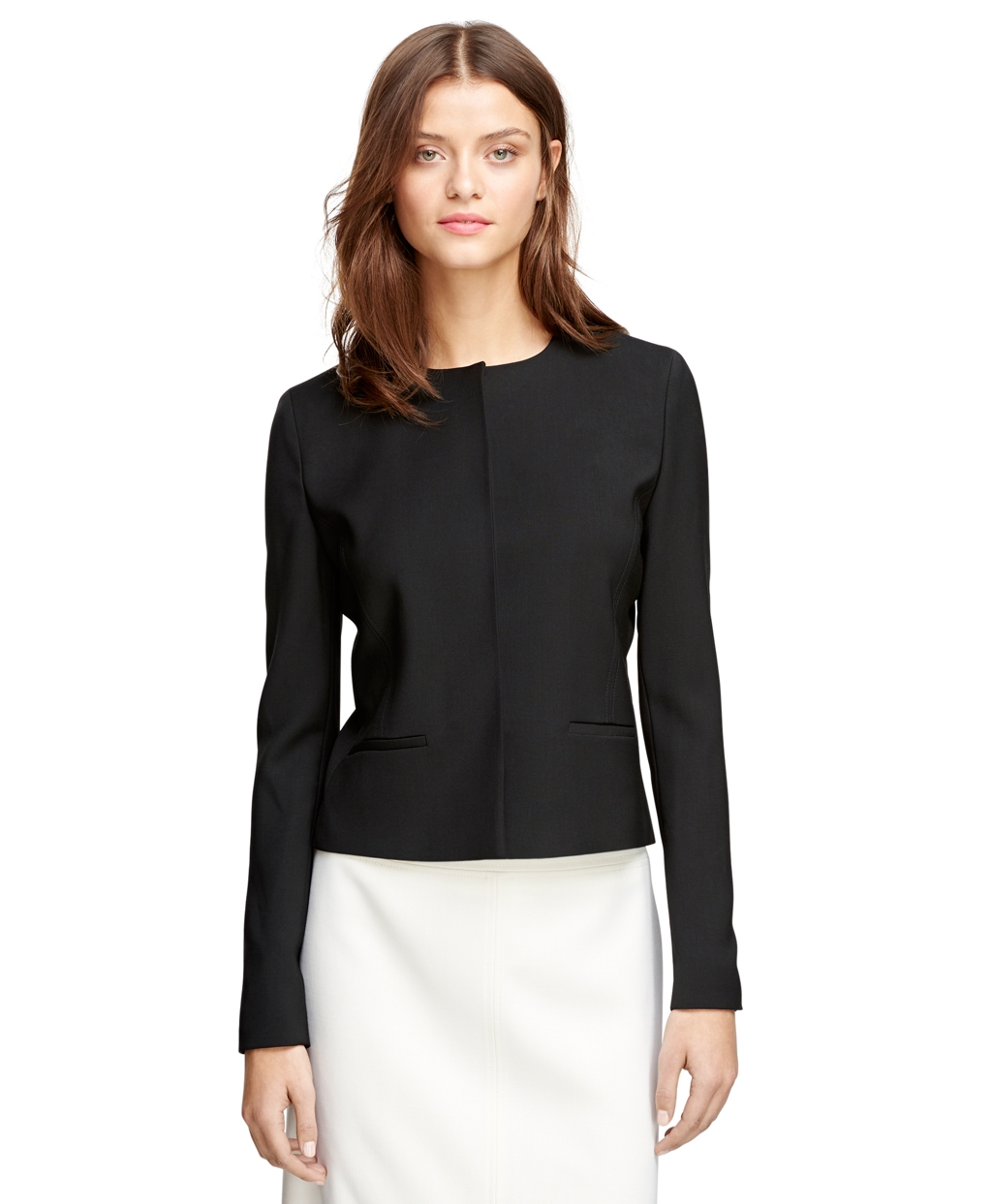 Brooks brothers Wool Collarless Jacket in Black | Lyst