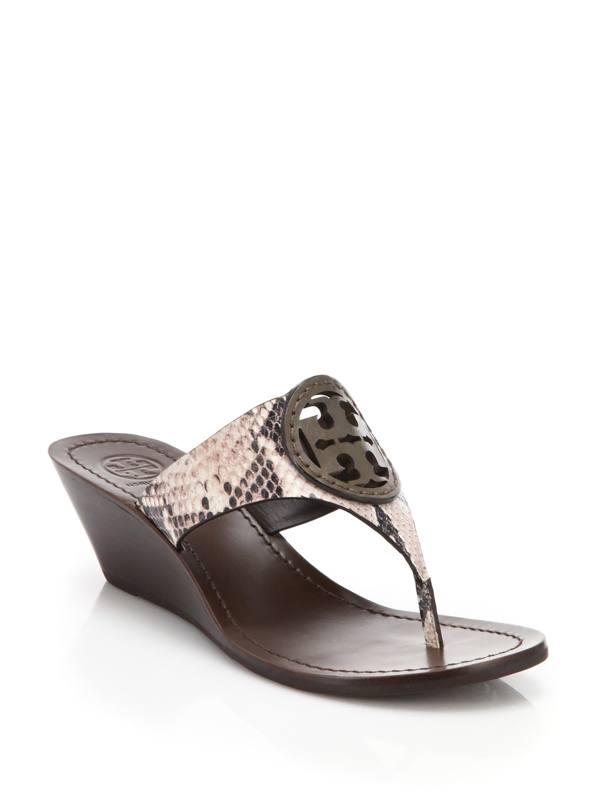 Tory Burch Louisa Snakeskin Embossed Leather Thong Wedge