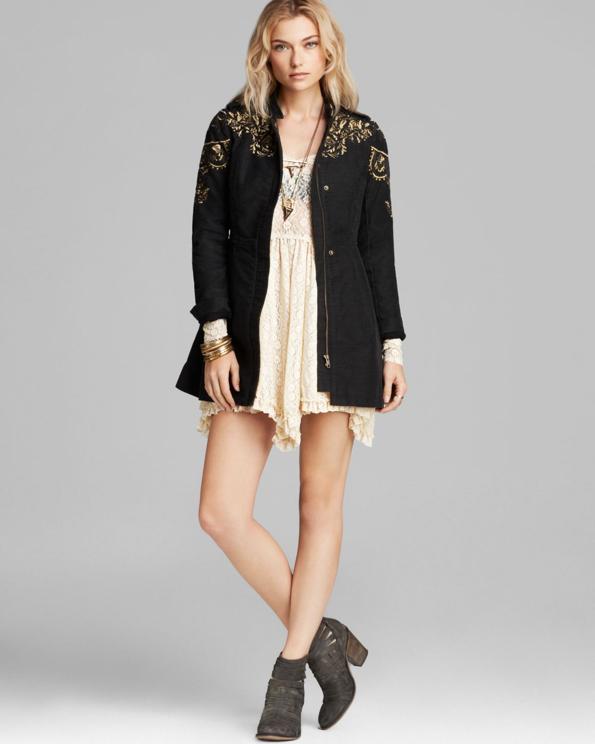 Free people Coat - Embellished Sergeant in Black | Lyst