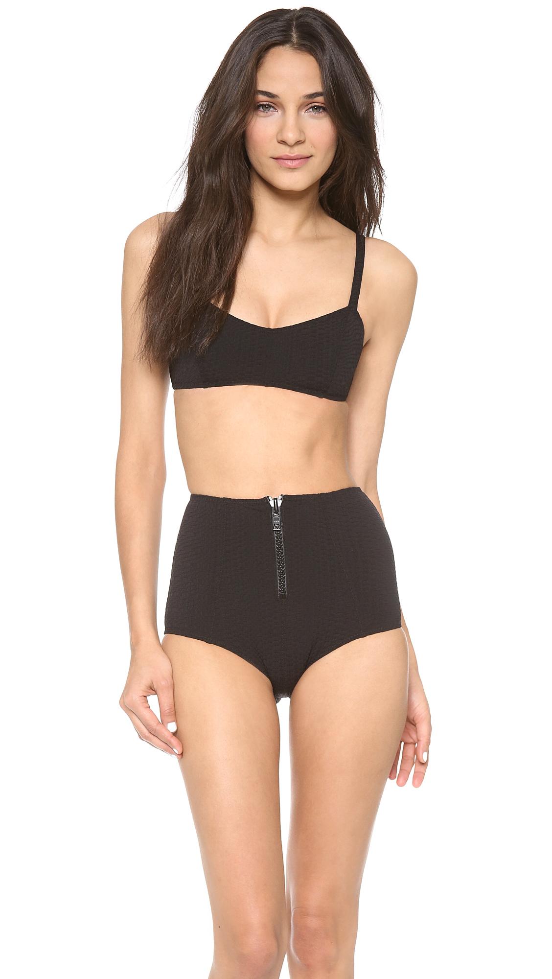 1134490466c20 Lisa Marie Fernandez Genevieve Zip High Waist Bikini Set Black ...
