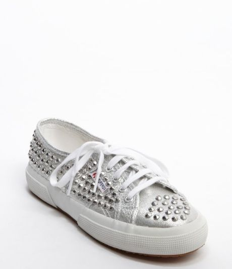 superga silver canvas studded detail lace up lame sneakers in silver for men lyst. Black Bedroom Furniture Sets. Home Design Ideas