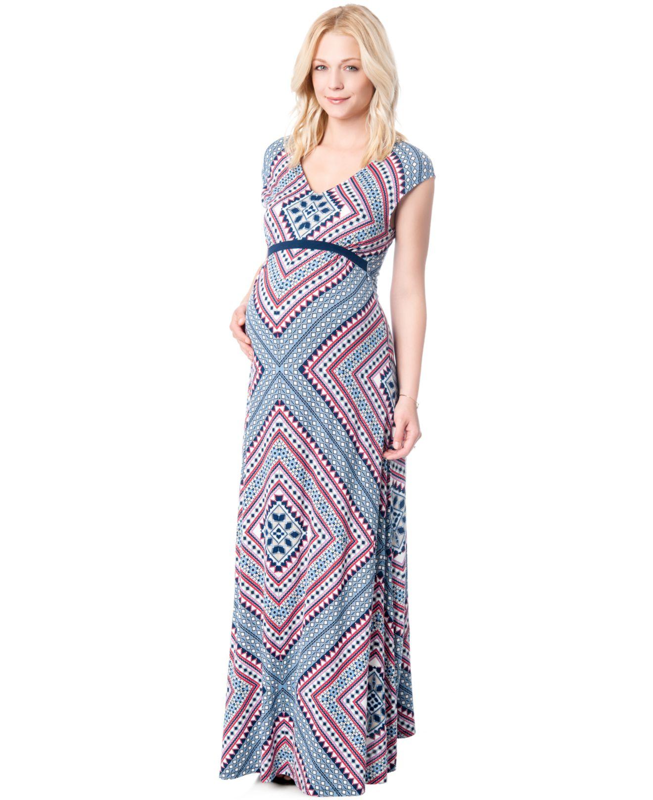 09d1354f6c89e Jessica Simpson Maternity Printed Maxi Dress in Blue - Lyst