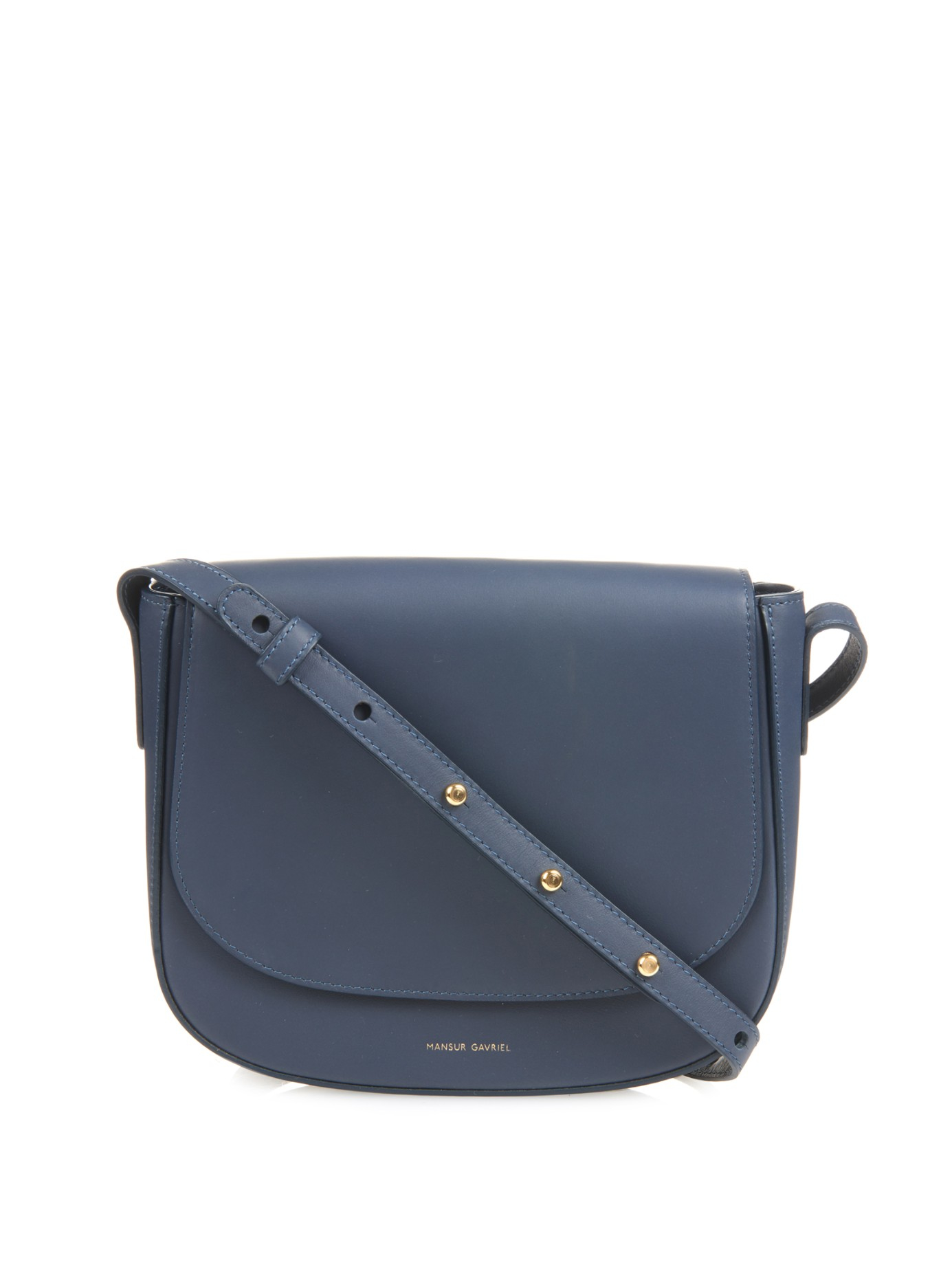 Mansur gavriel Calf-Leather Cross-Body Bag in Blue | Lyst
