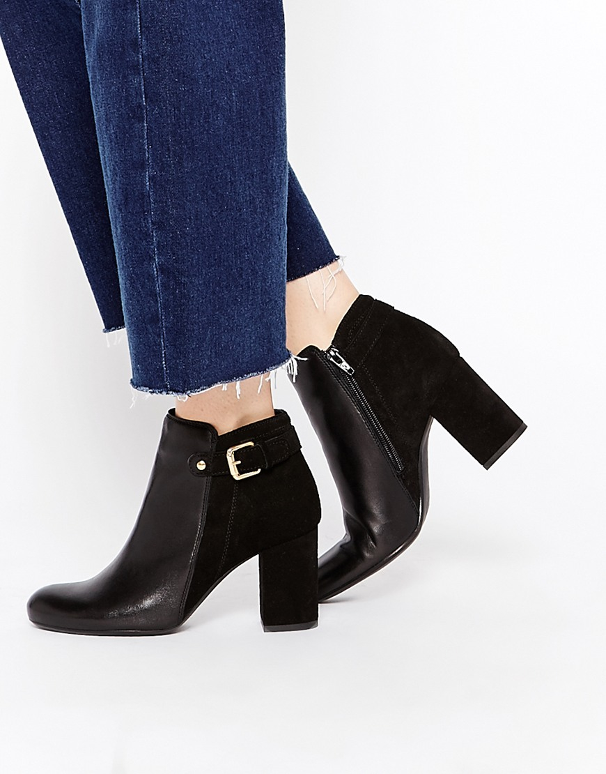 Oasis Block Heel Ankle Boots - Black in Black | Lyst