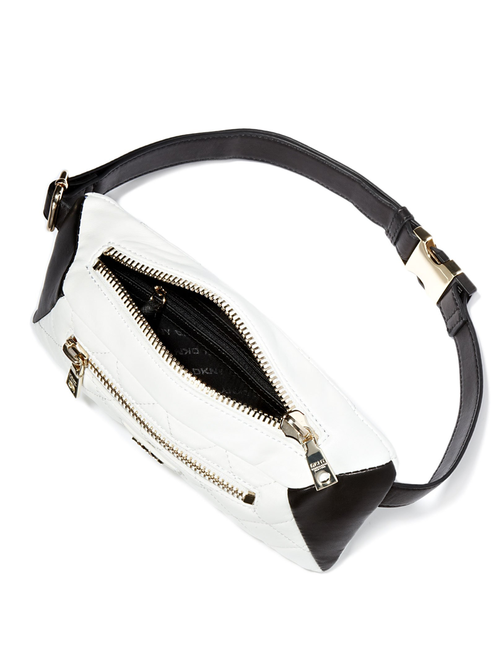 dkny quilted leather belt bag in white lyst