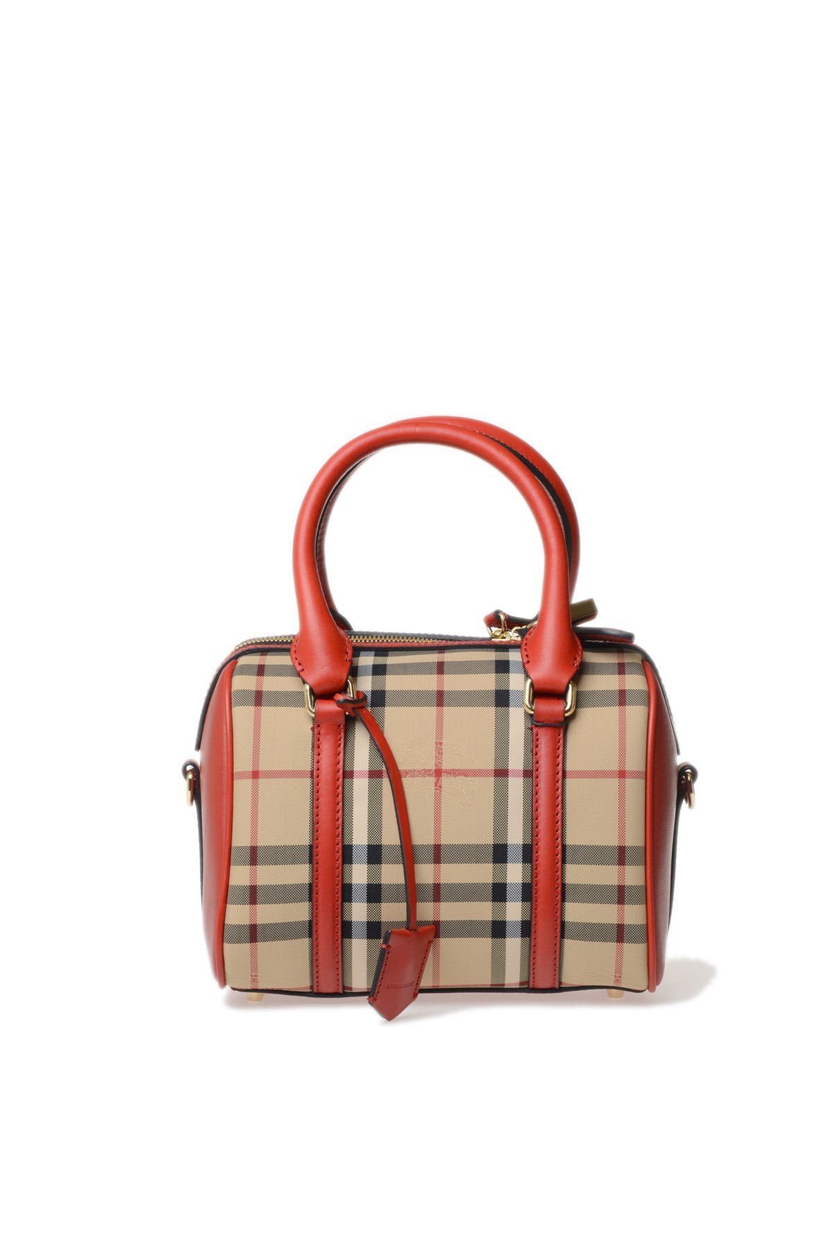 burberry leather and fabric bag in red lyst