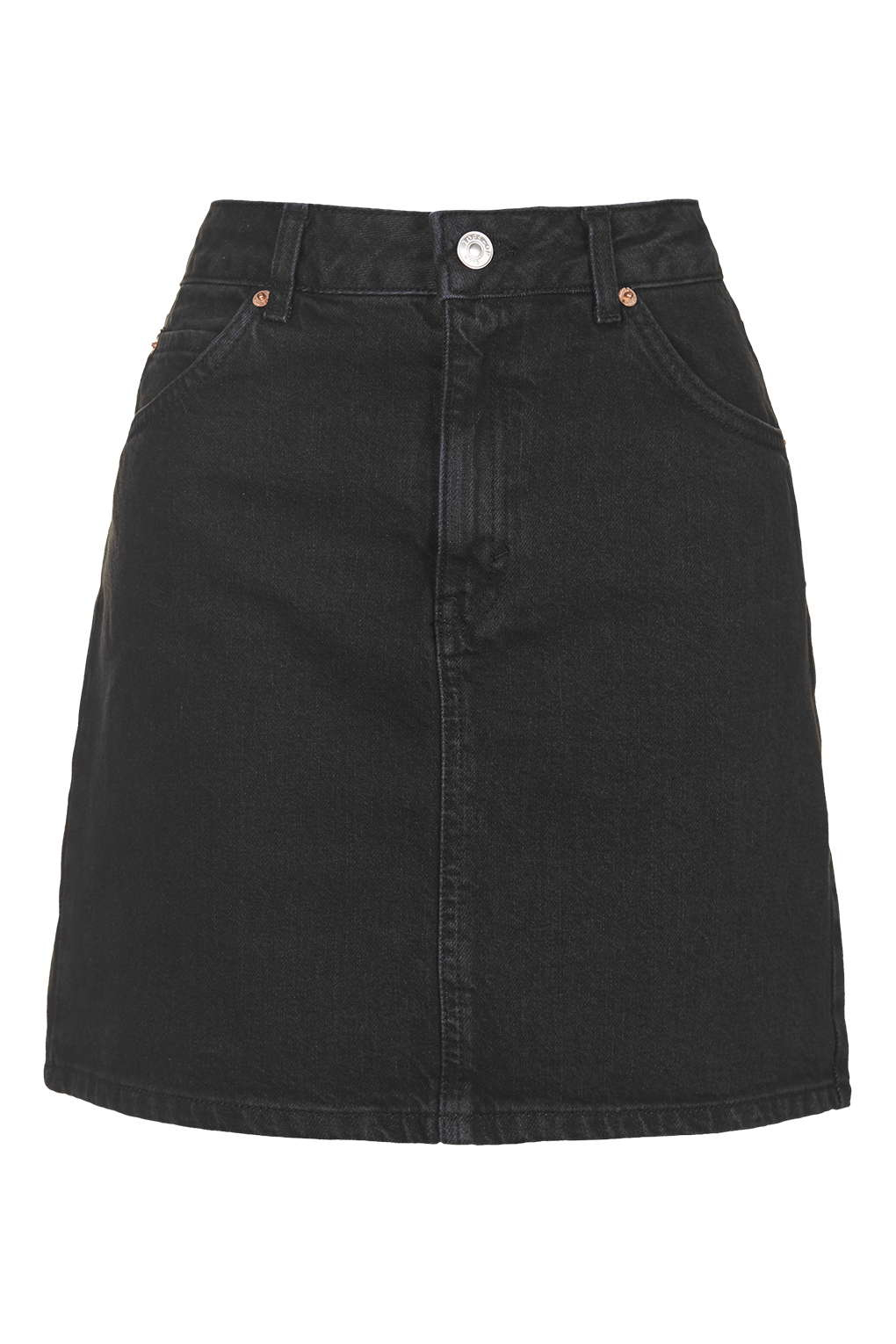 Topshop Petite Moto High Waist Denim Skirt in Black | Lyst