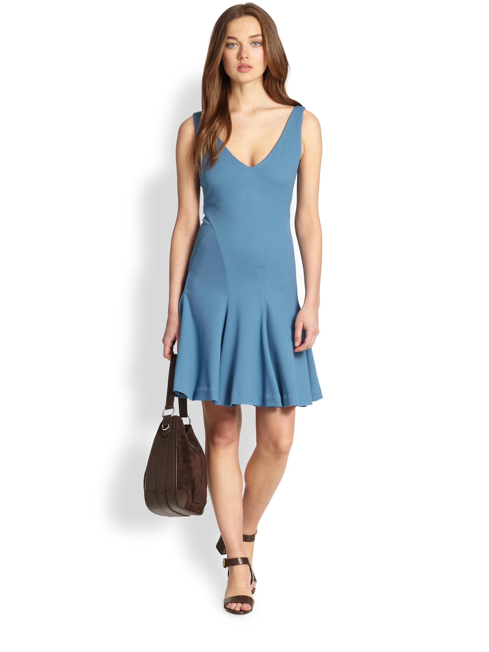 6a018f3399f1 Lyst polo ralph lauren jersey neck pleated dress in blue jpg 2000x2667 Ralph  lauren blue dresses