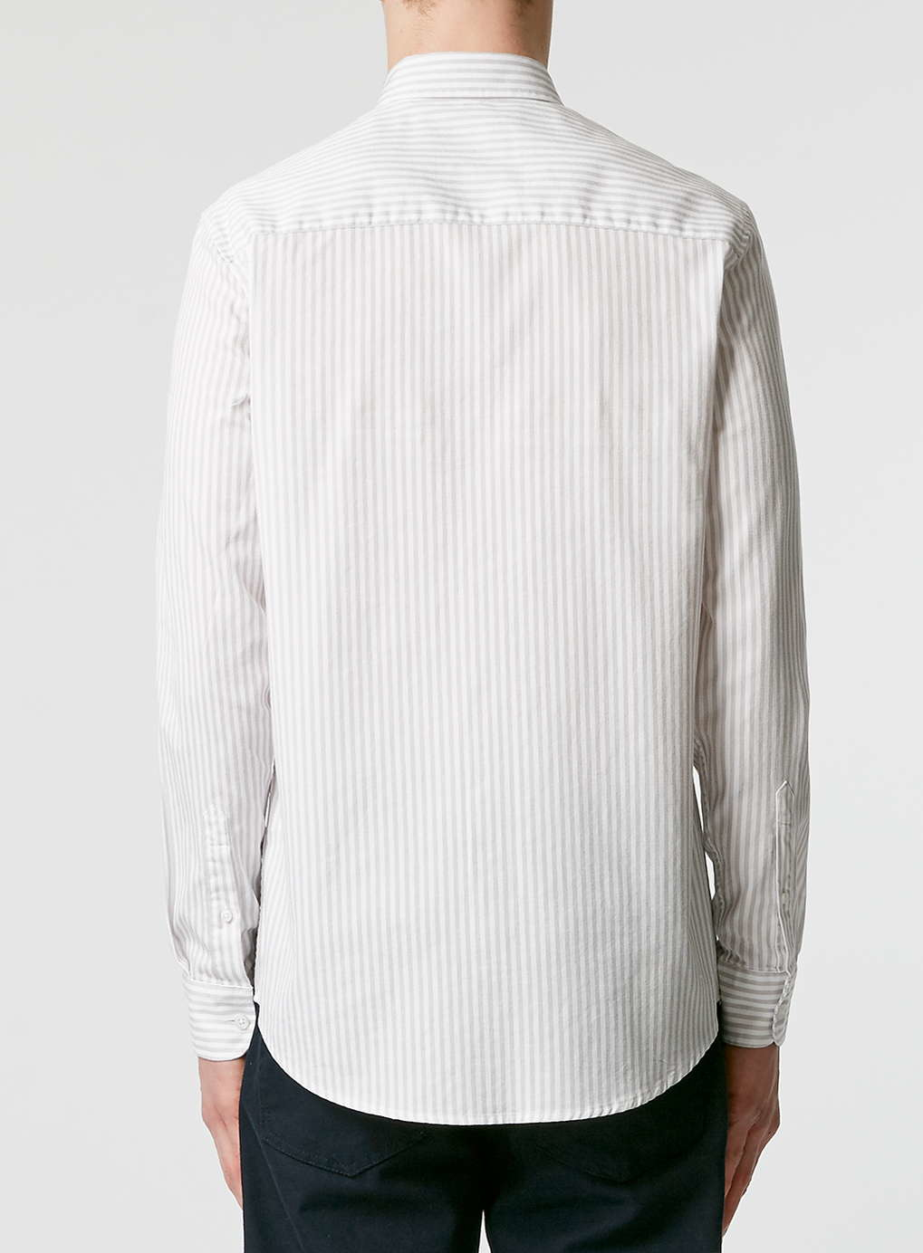 Topman grey and white stripe long sleeve casual shirt in for Grey long sleeve shirts