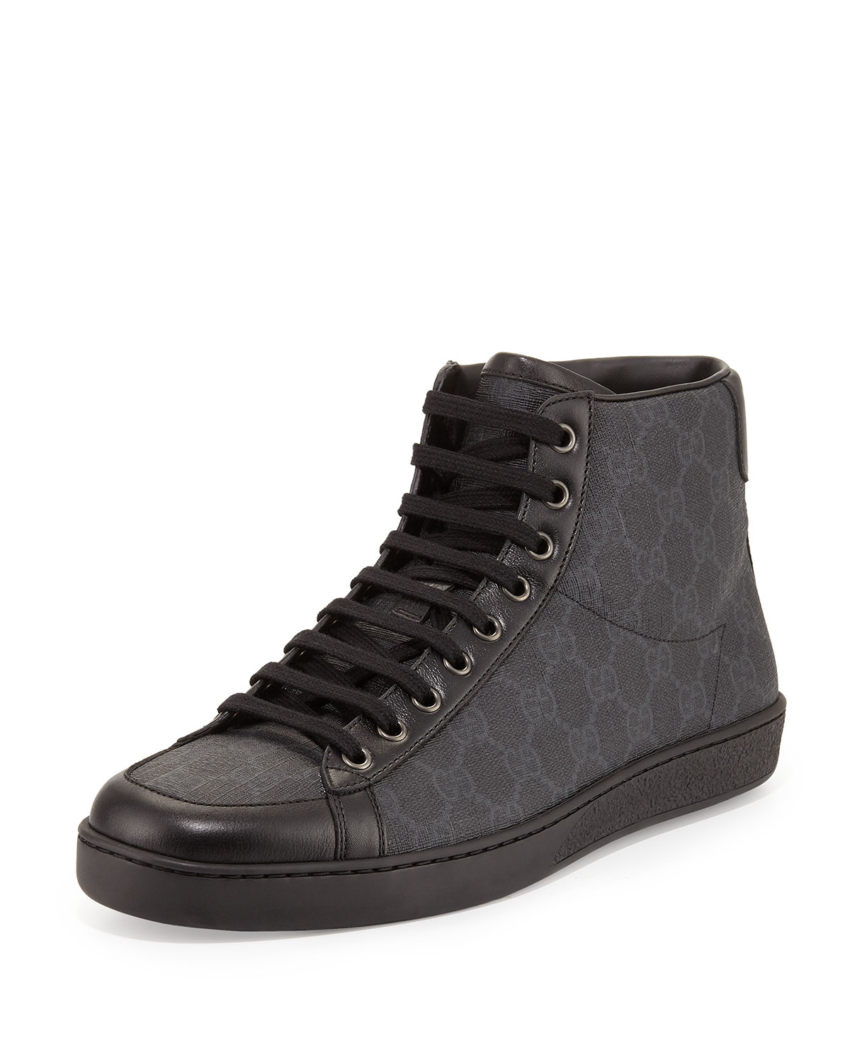 lyst gucci brooklyn gg supreme hightop sneaker in black