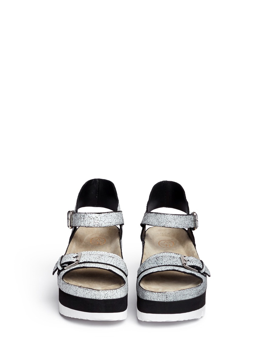 ash vera cracked paint suede flatform sandals in white