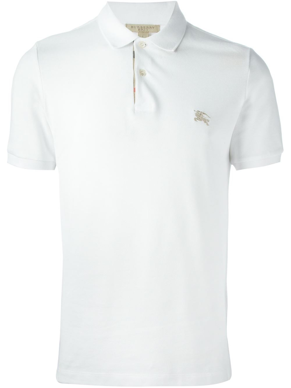 Burberry Brit Logo Patch Polo Shirt In White For Men Lyst