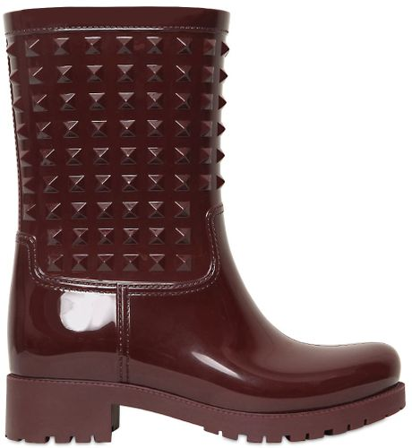 Valentino 50mm Rubber Studded Rain Boots In Purple