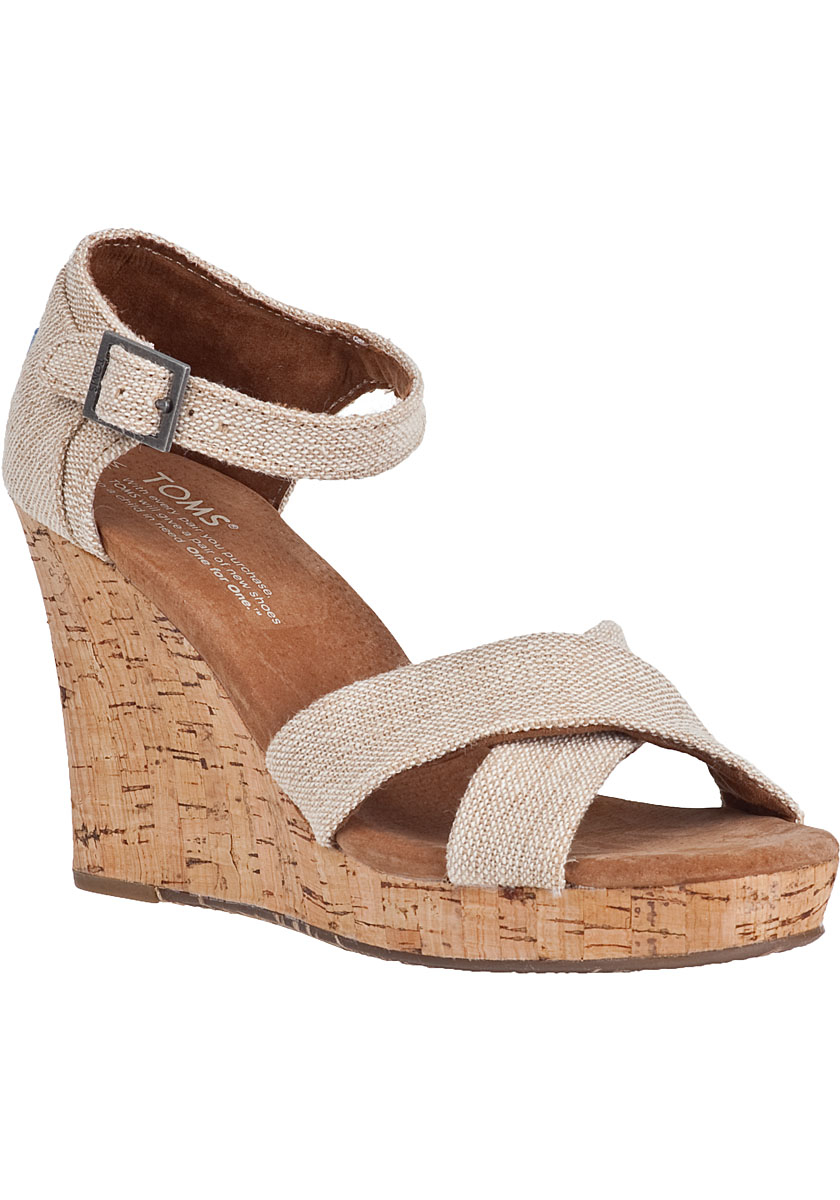 toms strappy wedge sandal fabric in brown lyst