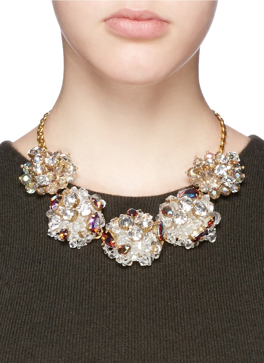 Lyst J Crew Jeweled Geometric Necklace In Metallic