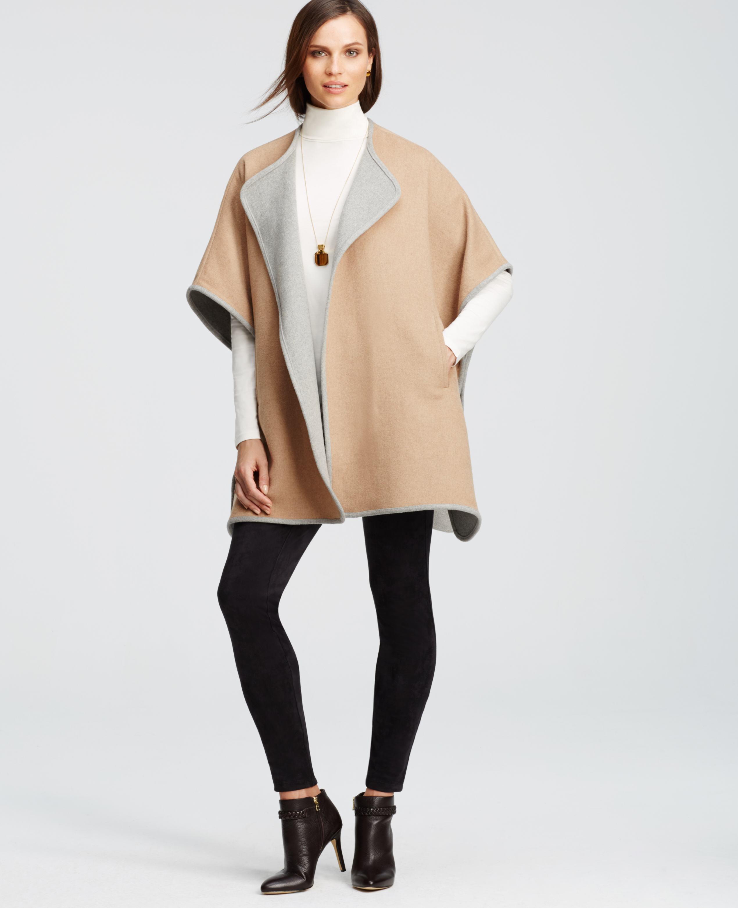 Ann taylor Petite City Cape in Brown | Lyst