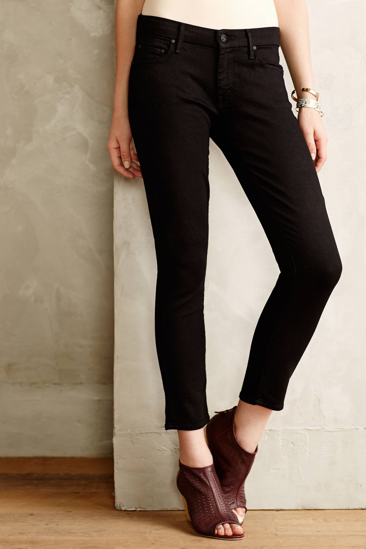 Mother Looker Cropped Skinny Jeans in Black | Lyst