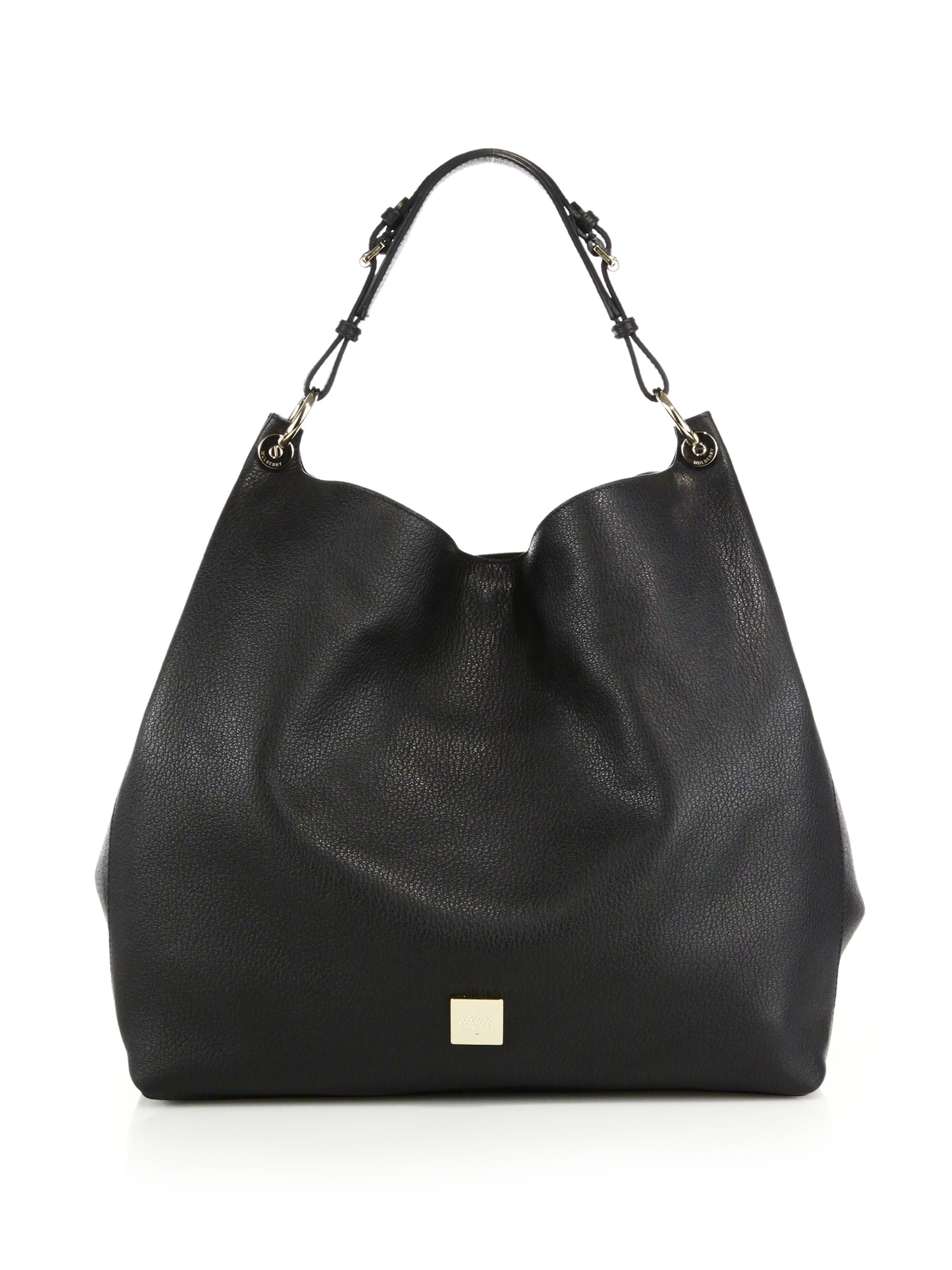 mulberry freya leather hobo bag in black lyst