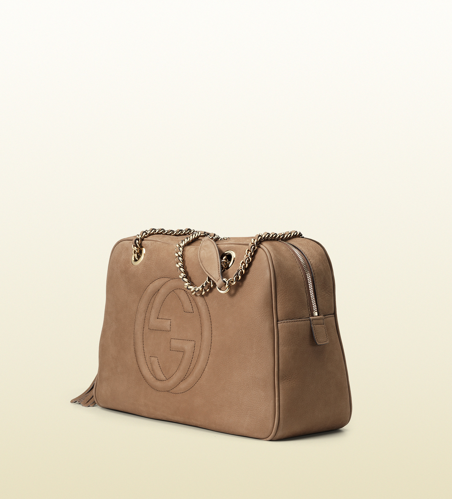 de3ad9bac1386 Lyst - Gucci Soho Nubuck Leather Chain Shoulder Bag in Brown