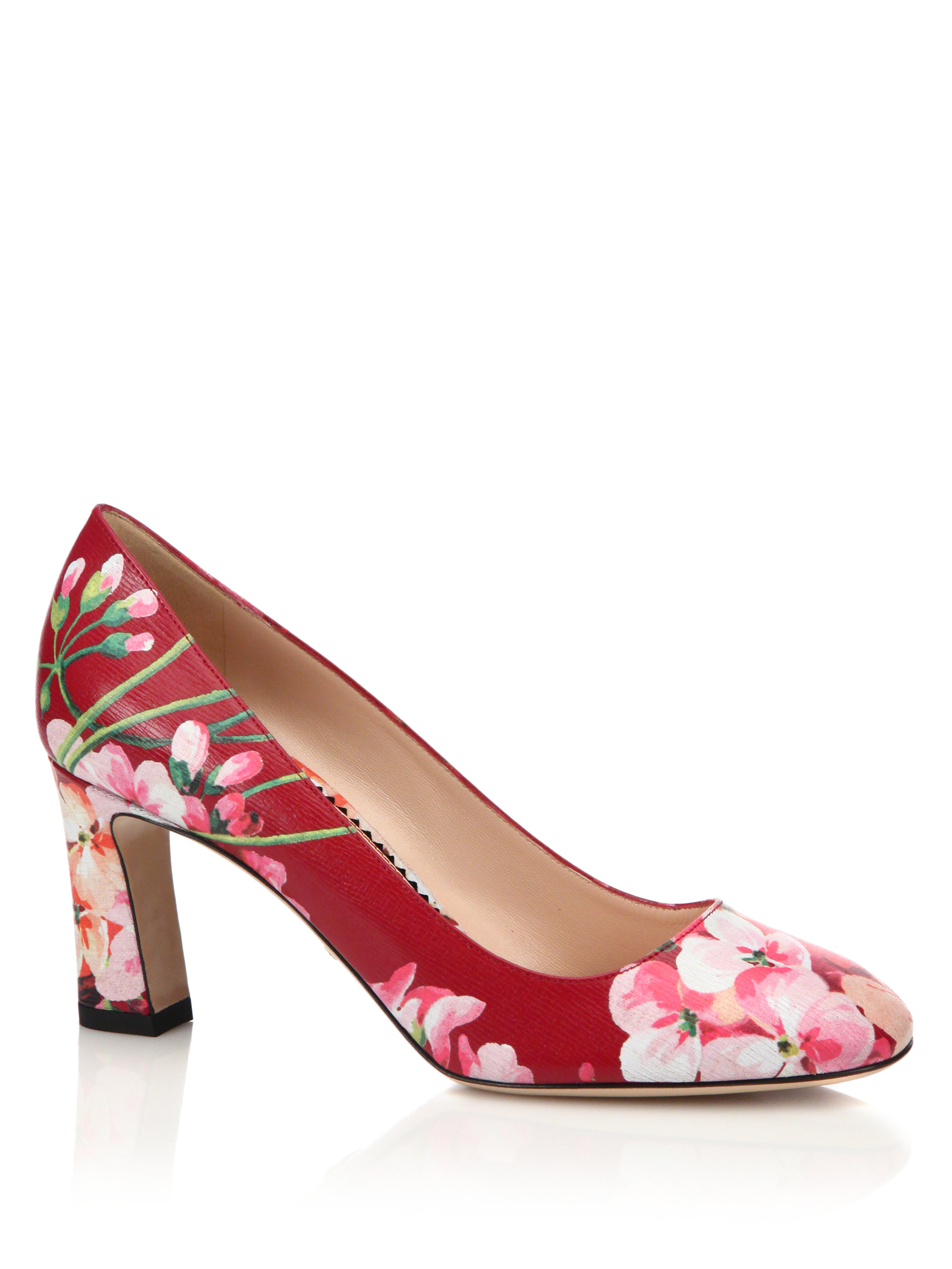 555992b5e87 Lyst - Gucci Marine Floral Leather Pumps in Pink