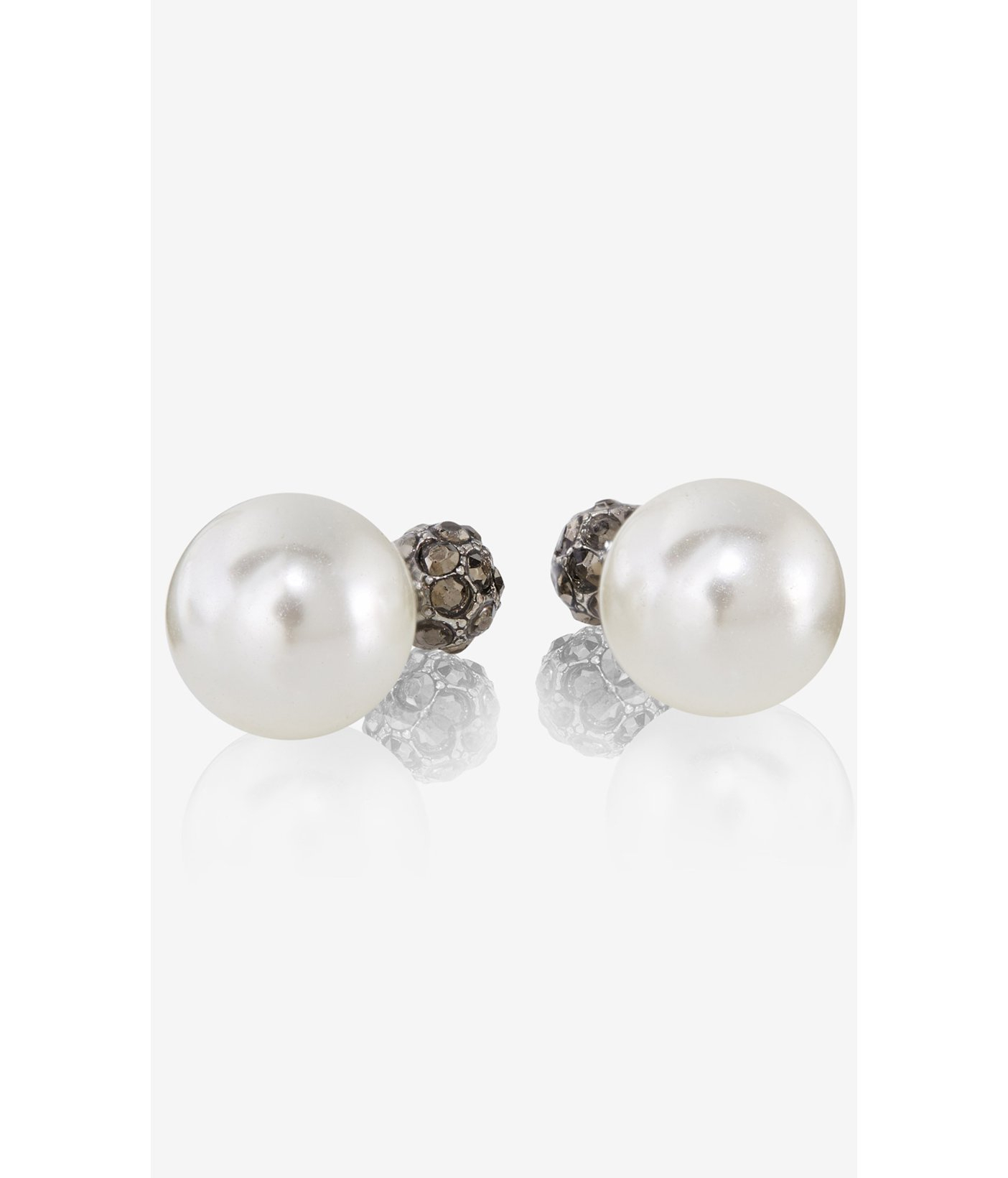 front and back pearl earrings lyst express fireball front and back stud earrings in white 2586