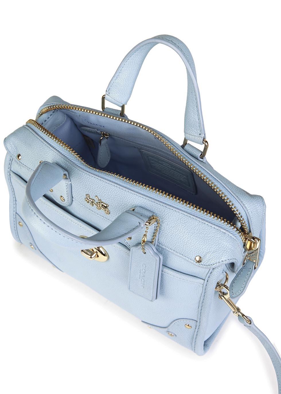 15932eed2cf0 ... ebay coach rhyder 24 mini powder blue leather satchel in blue lyst  b6f54 e0ece