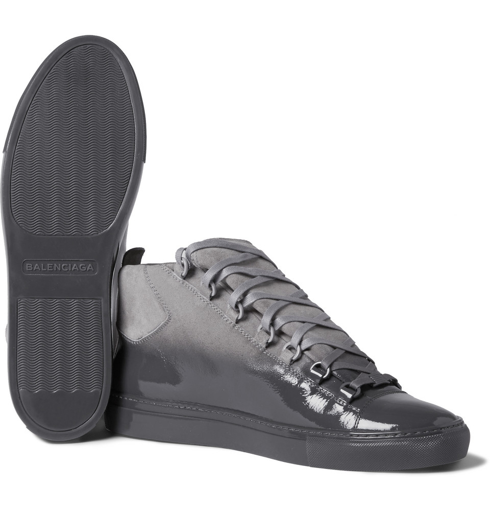 Balenciaga Arena Glossed-Suede High Top Sneakers in Gray for Men | Lyst