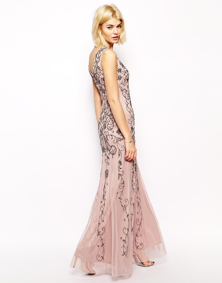 Mango Embellished Maxi Dress in Natural  Lyst