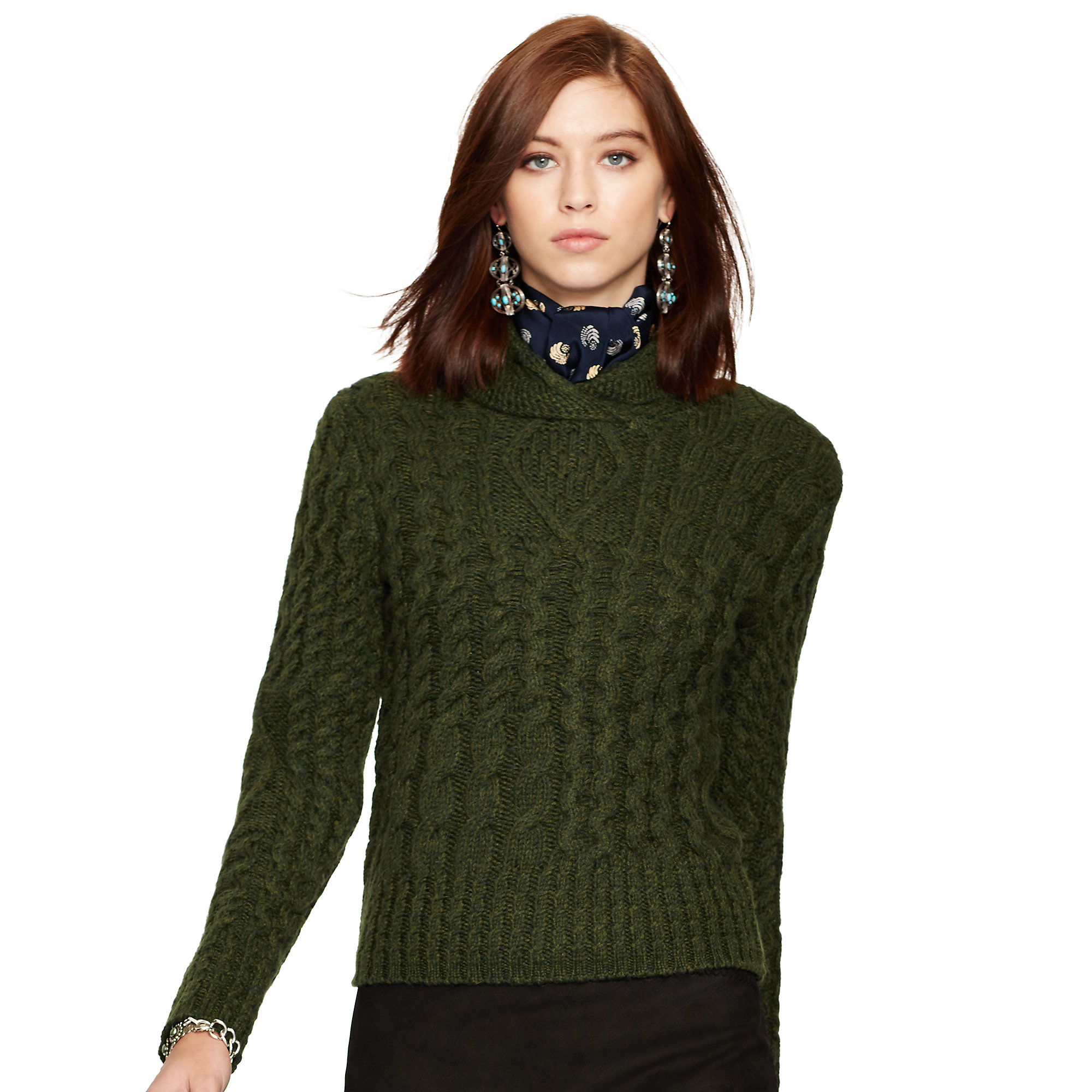 Polo ralph lauren Wool-alpaca Cabled Sweater in Green | Lyst