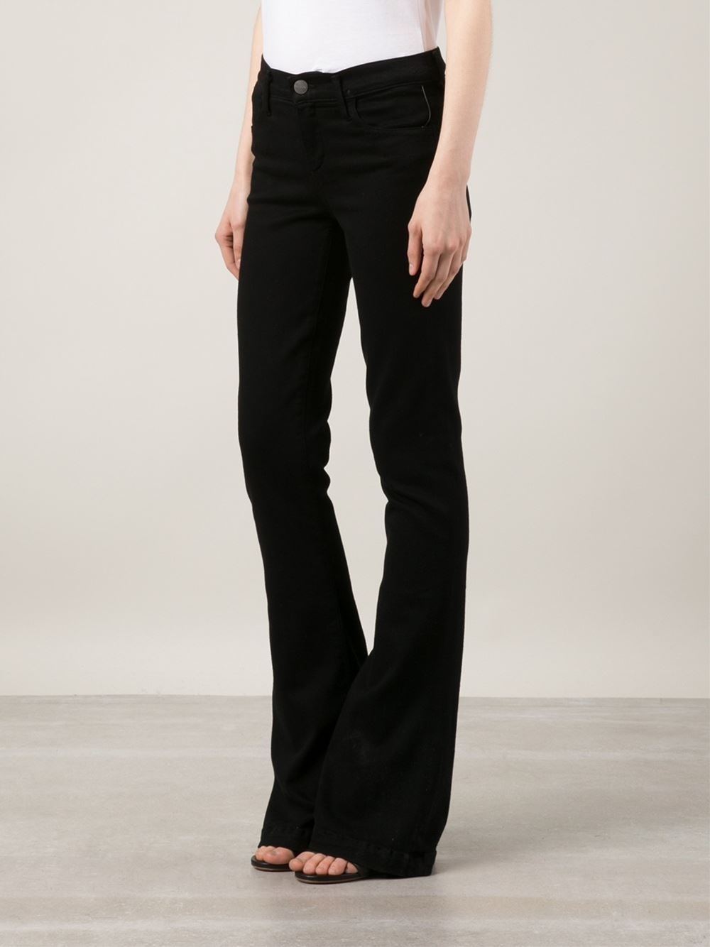 Goldsign Flared Mid Rise Stretch Denim Jeans In Black Lyst