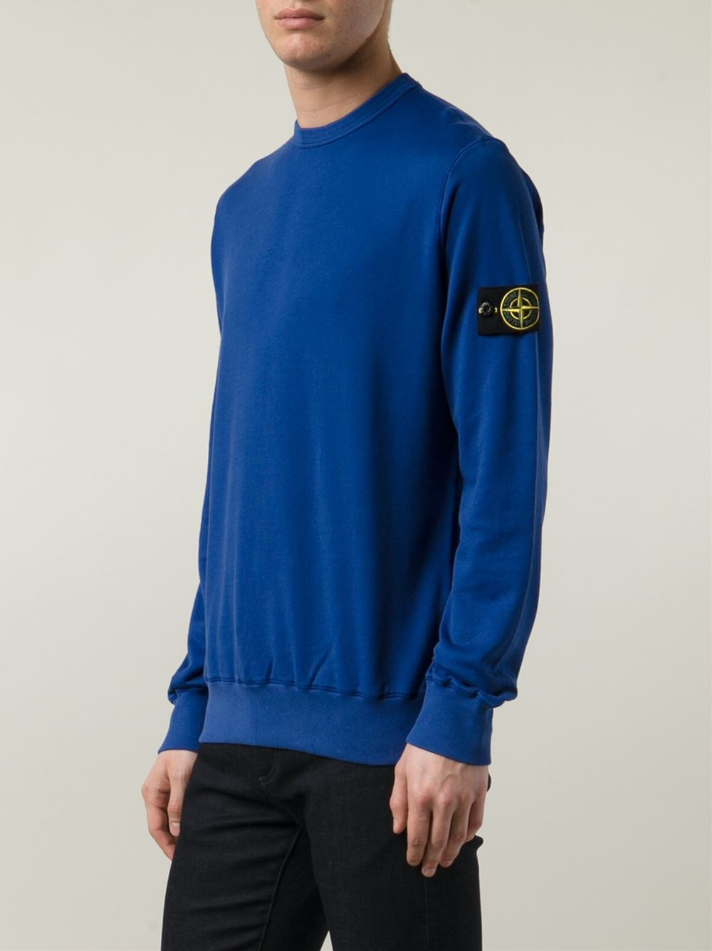 stone island crew neck sweatshirt in blue for men lyst. Black Bedroom Furniture Sets. Home Design Ideas