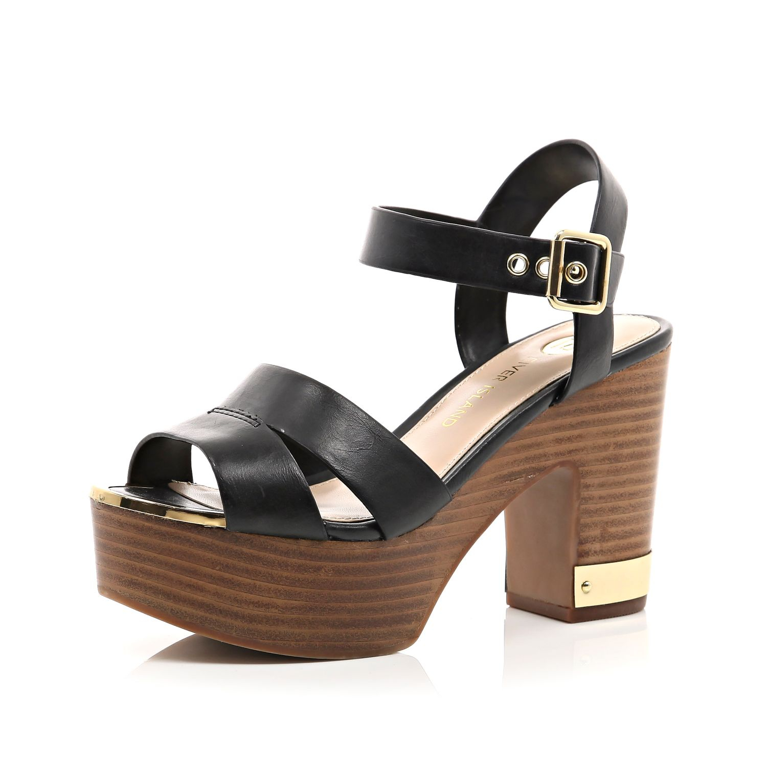 c2b7fcd270e River Island Black Wood Effect Heel Platform Sandals in Black - Lyst