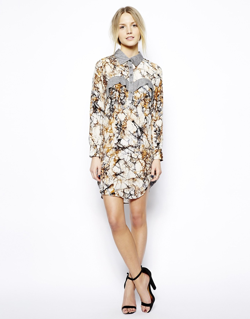 Love Zooey Long Sleeve Silk Shirt Dress With Wool Trims Lyst