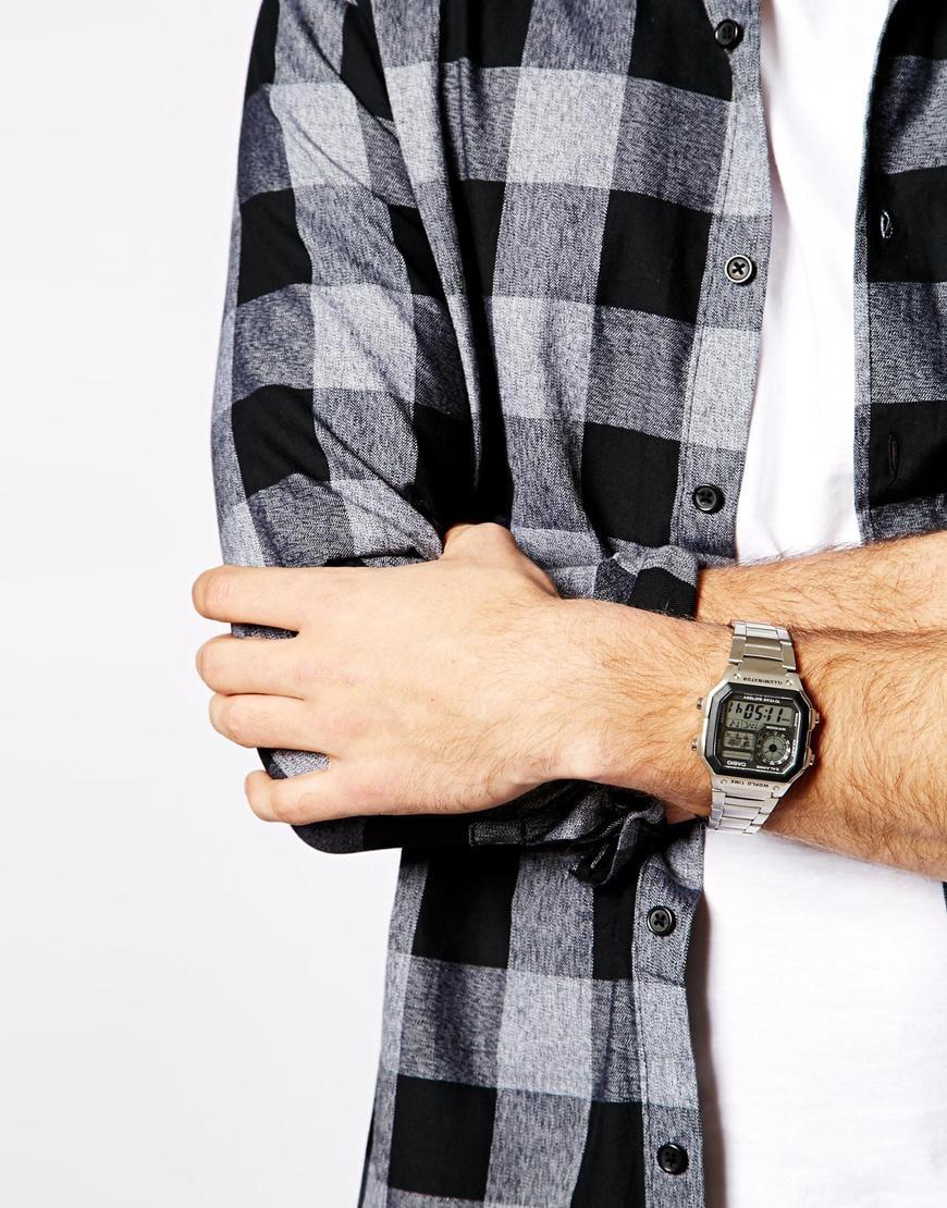 Lyst G Shock Digital Retro Watch Ae1avef In Metallic For Men