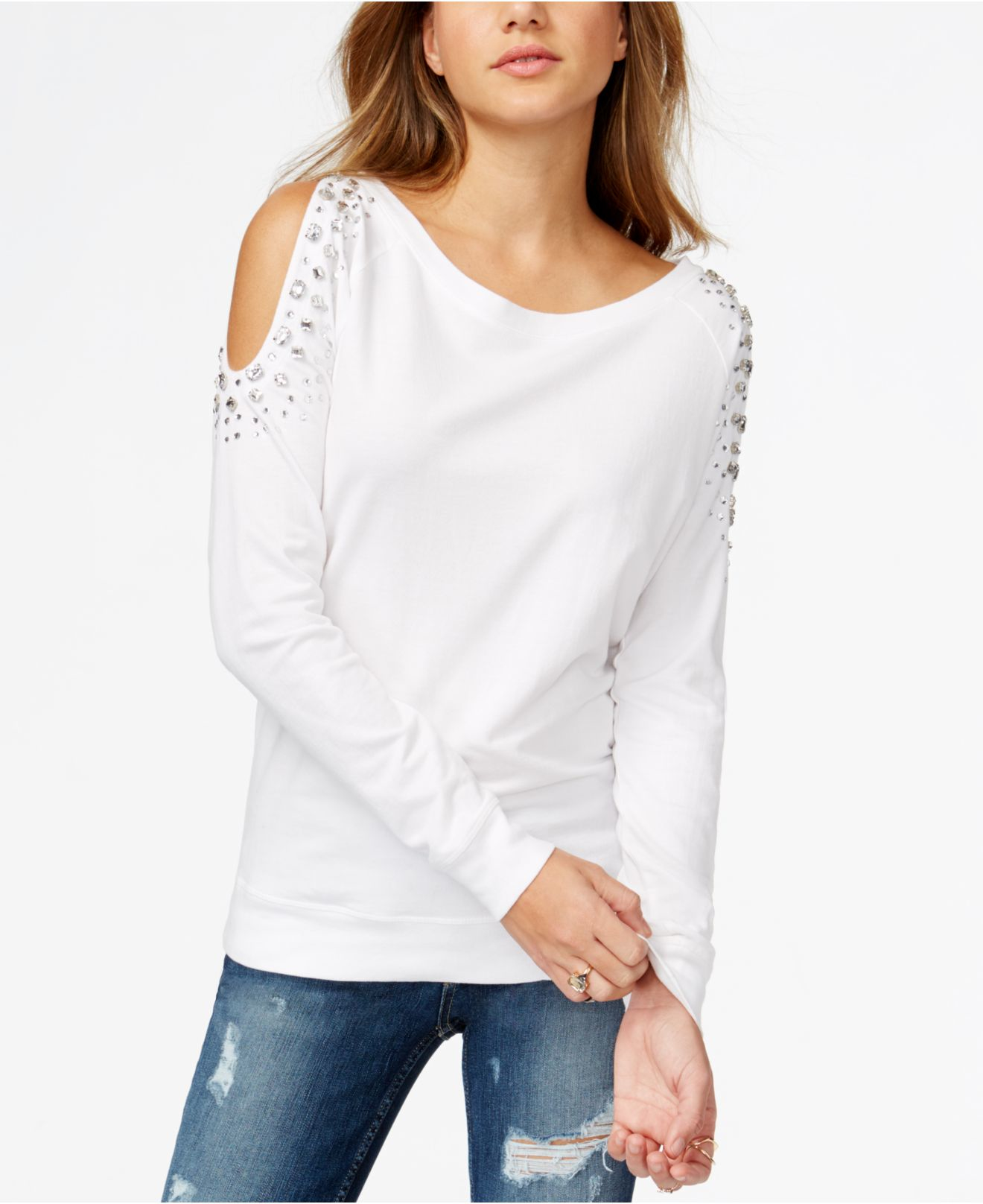 0b5be0b32b93c Lyst - Guess Embellished Cold-shoulder Pullover in White