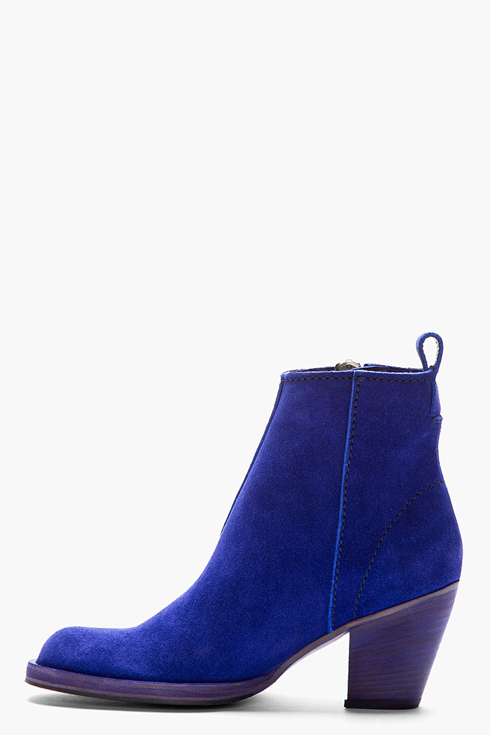 Acne studios Indigo Blue Cuban_heel Suede Ankle Boot in ...