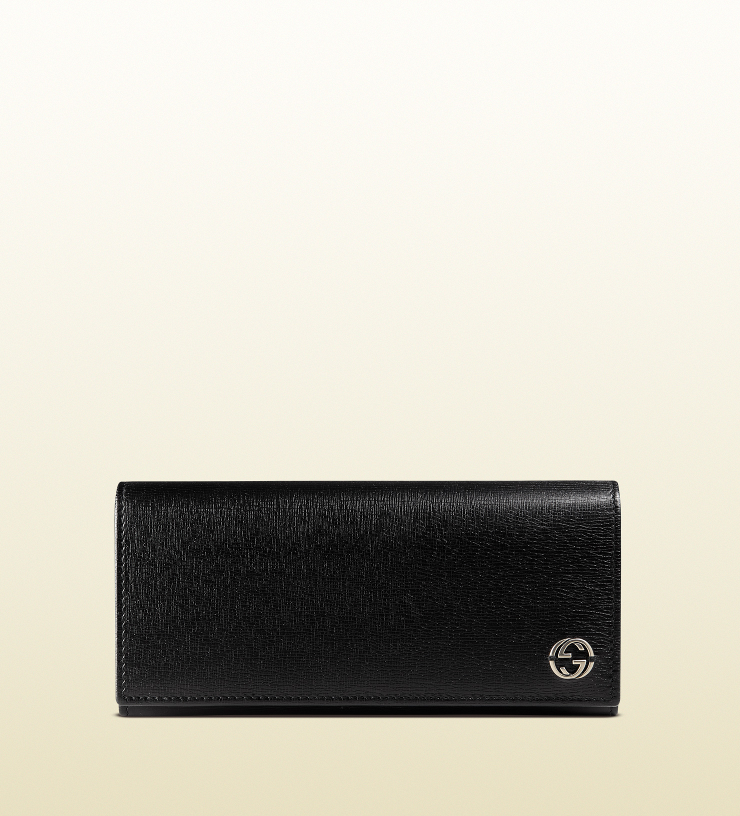 lyst gucci leather long coin wallet with printed interior in black. Black Bedroom Furniture Sets. Home Design Ideas
