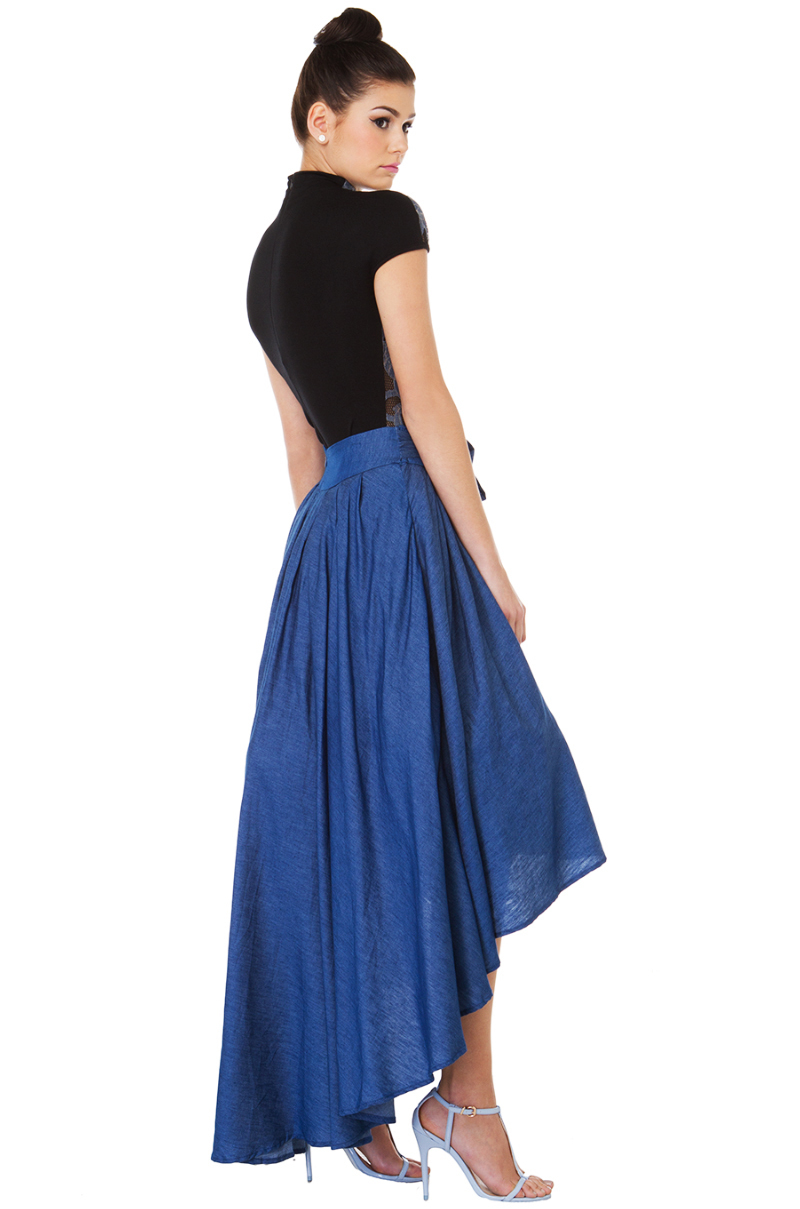 8d1e3b3ee9 Lyst - Gracia Take Me To The Rodeo Hi-lo Blue Denim Skirt in Blue