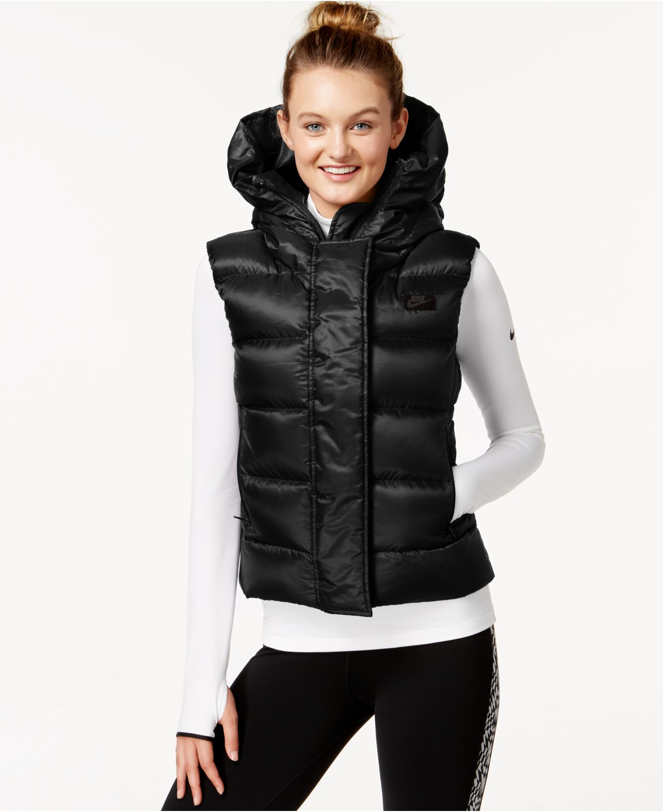 Lyst - Nike Uptown 550 Hooded Down Vest in Black 4bf1ec248