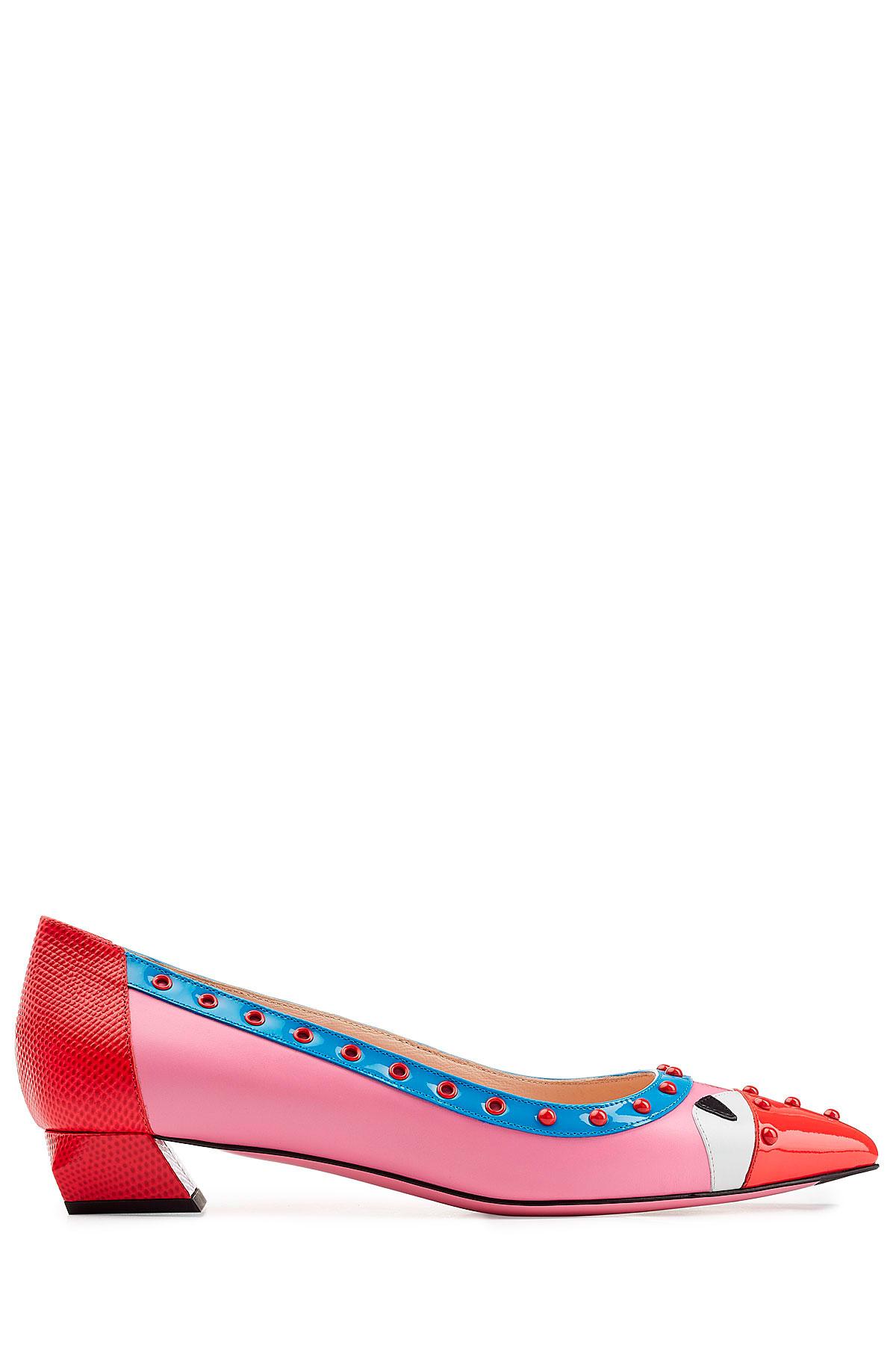 20703e65a2 Fendi Embellished Leather Color Block Kitten Heel Pumps - Multicolor ...