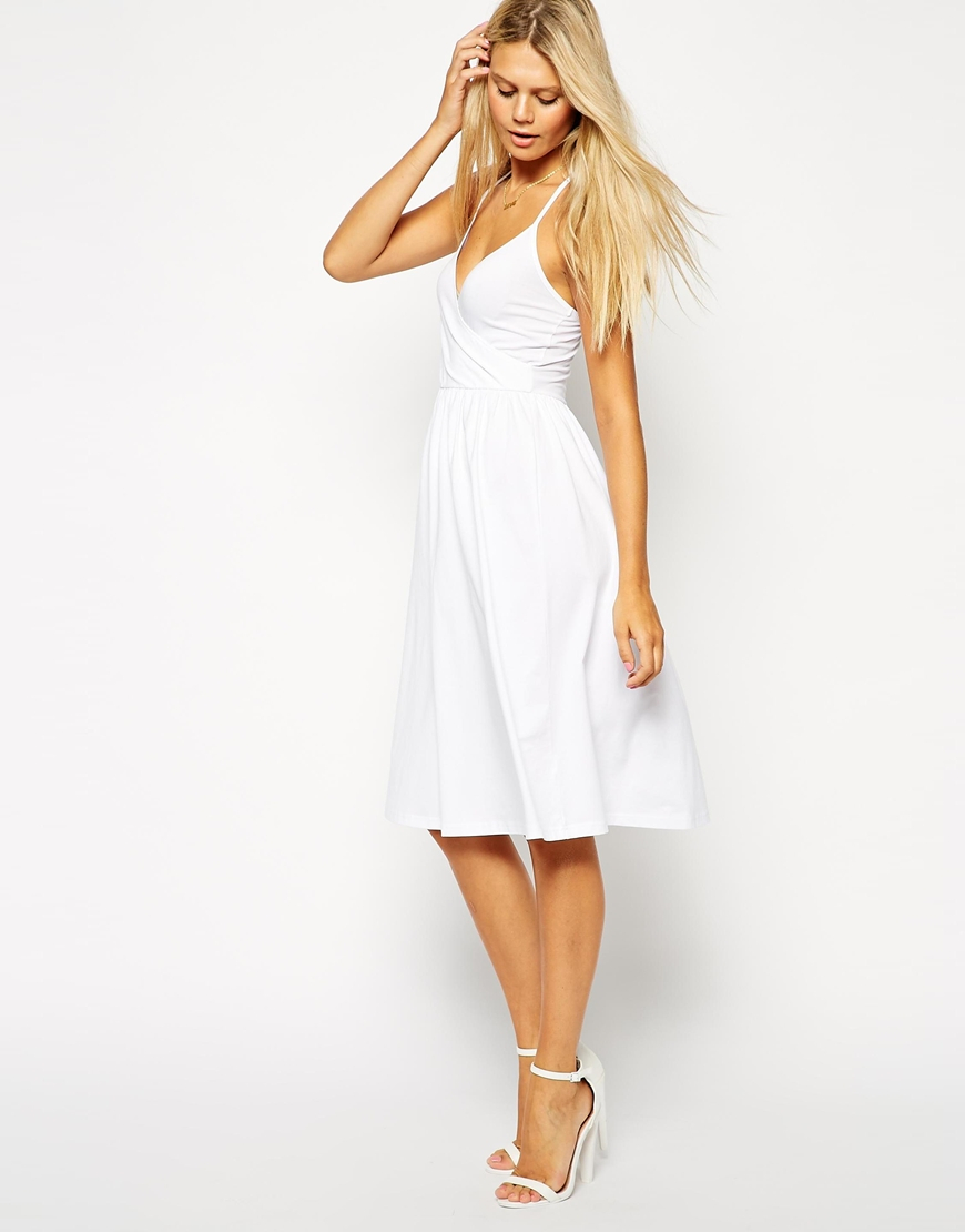 bright n colour best sneakers modern and elegant in fashion ASOS White Midi Sundress With Strappy Back And Wrap Front