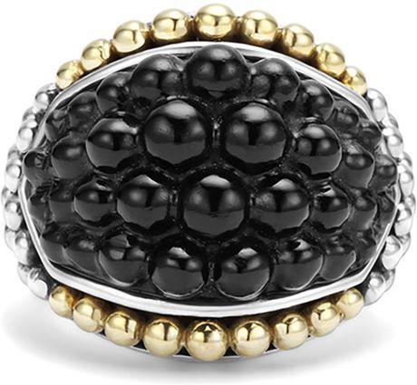 Lagos Black Caviar Onyx Dome Ring In Gold Black Lyst