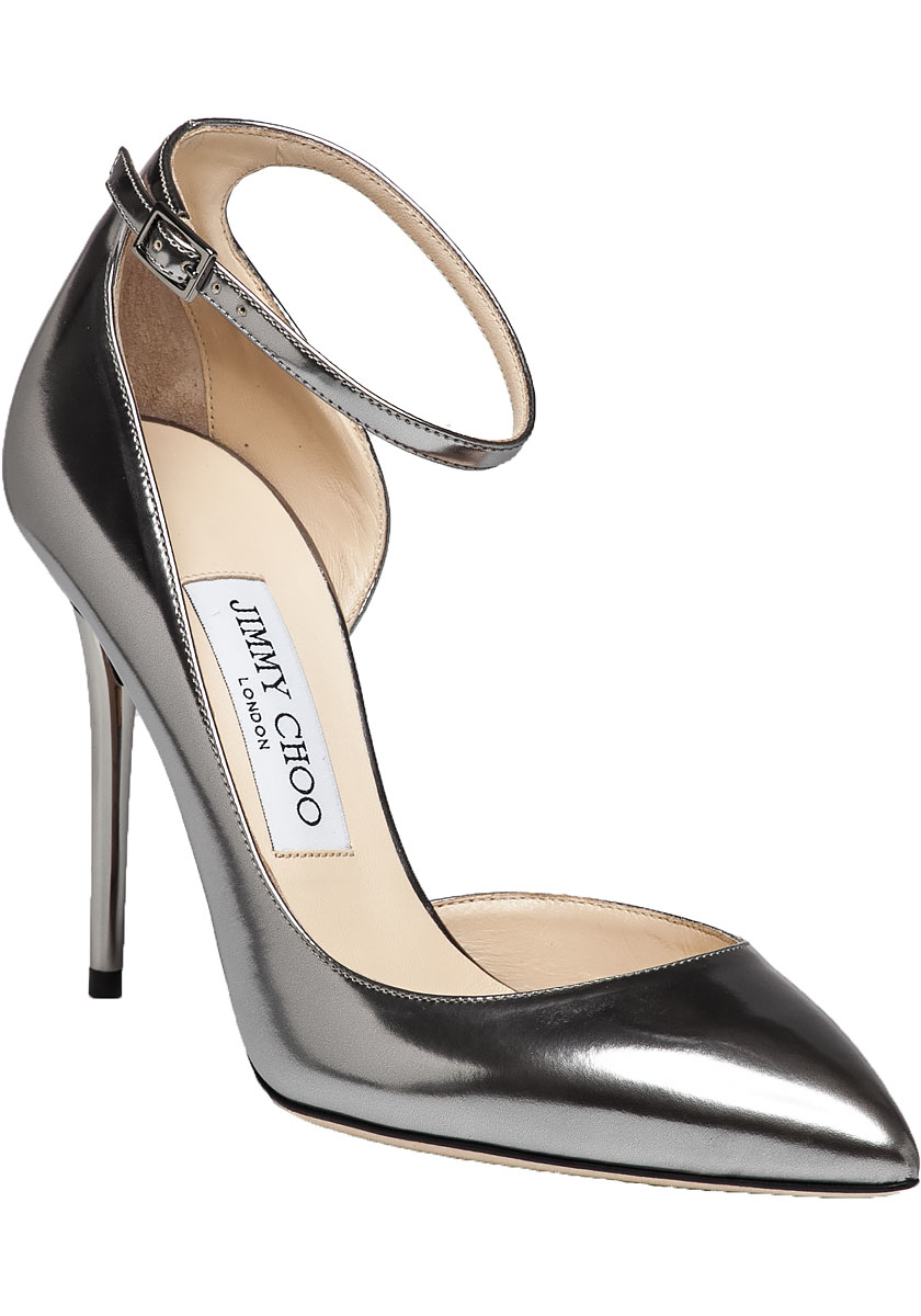 a56f3b40bf73 Jimmy Choo Lucy Steel Mirror Leather Pump in Metallic - Lyst