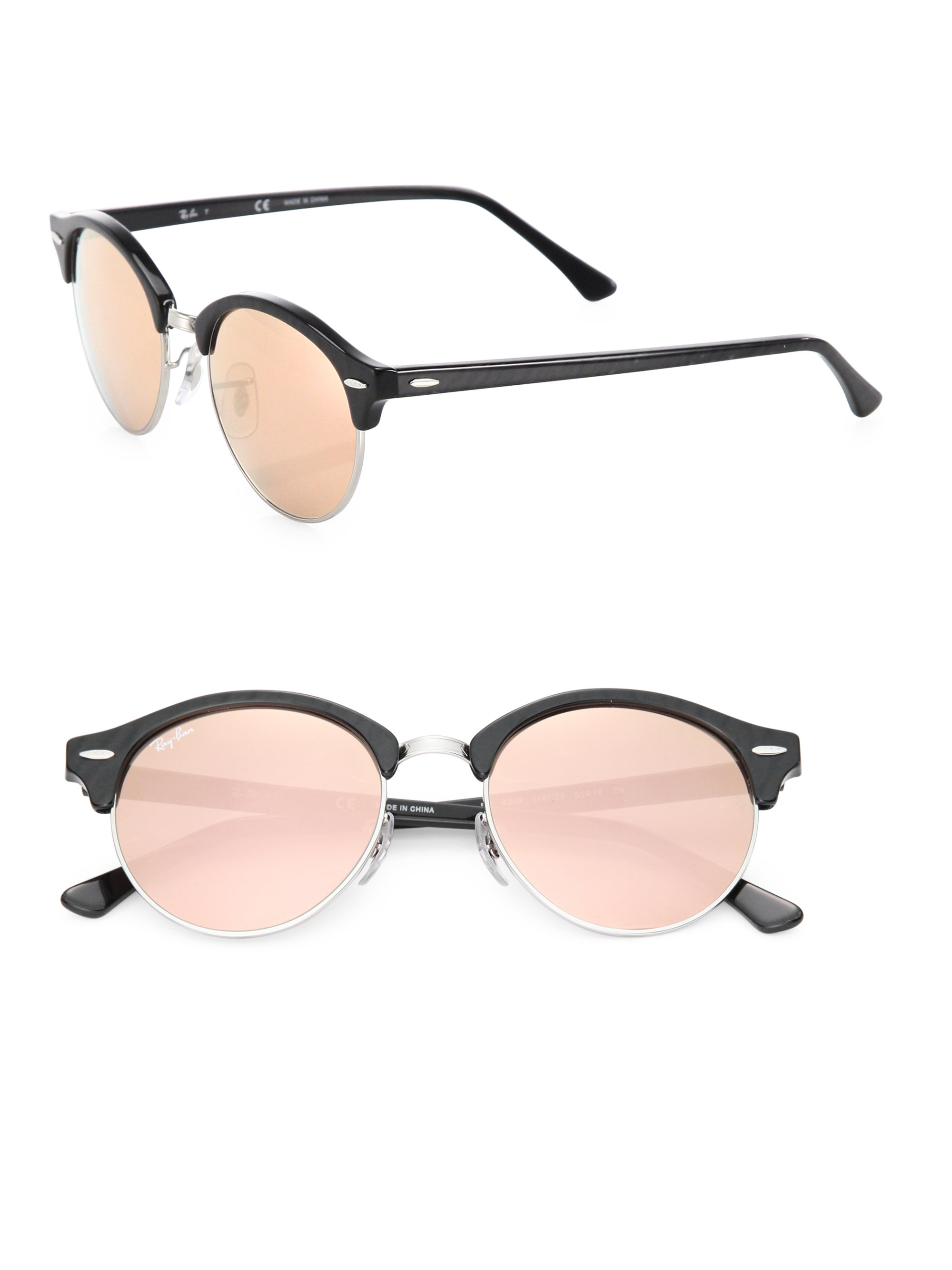 def8773074bb Ray-ban Round Metal Flat Lens Mirrored Sunglasses