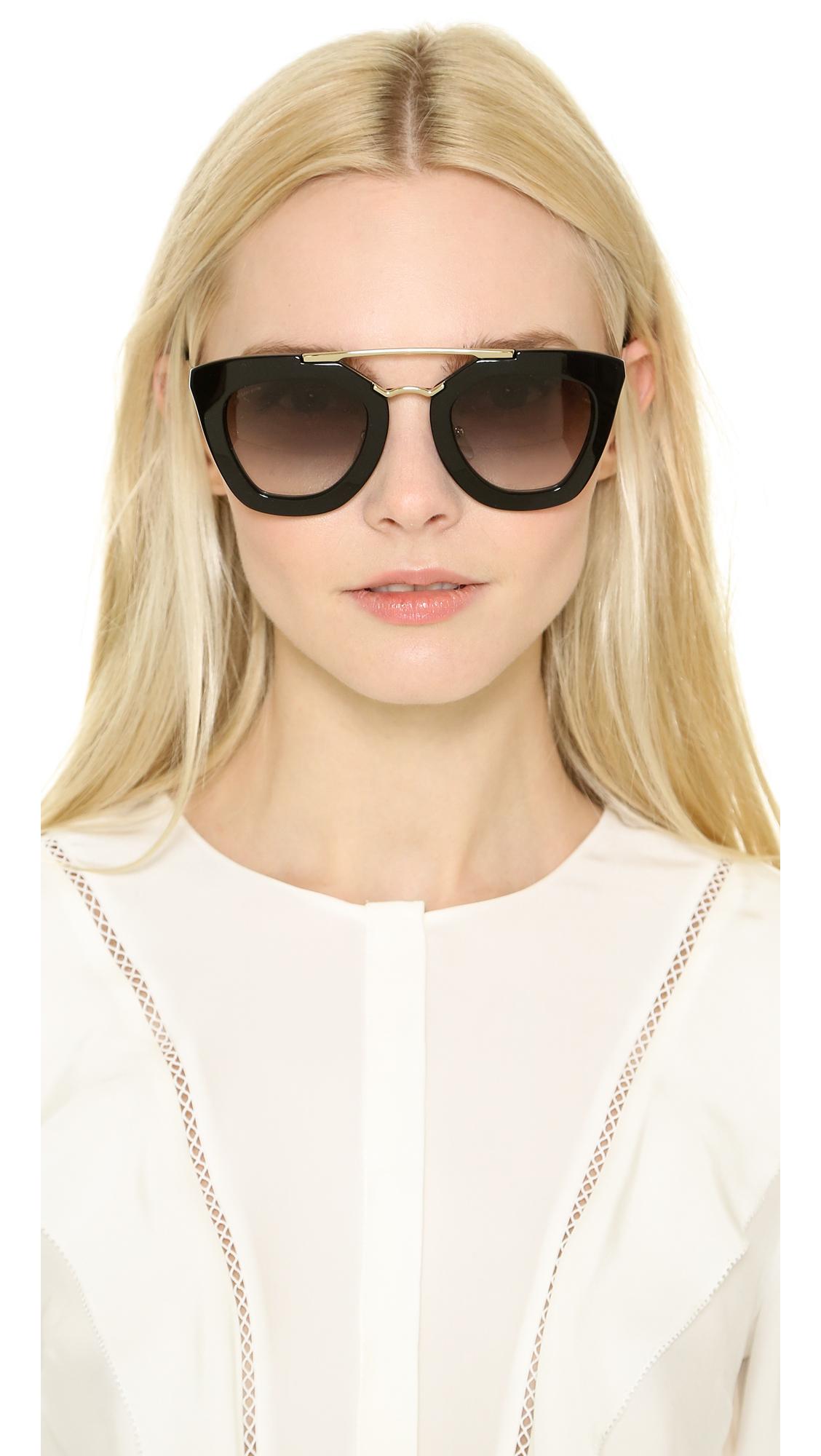 2e7c82ef90bd9 reduced prada round frame silver tone sunglasses a01fa aa398  sweden lyst  prada thick frame sunglasses in black 3fb44 bab26