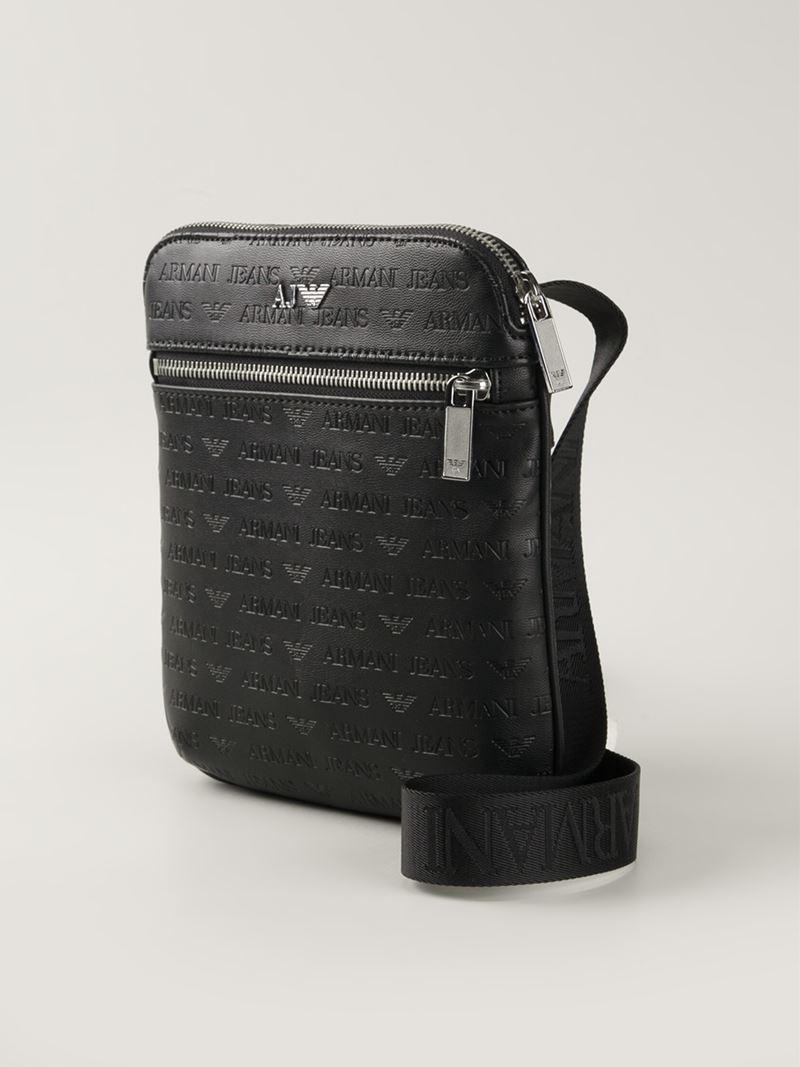 Lyst Armani Jeans Logo Print Messenger Bag In Black For Men