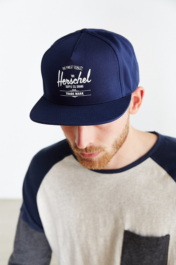 Lyst - Herschel Supply Co. Whaler Snapback Hat in Blue for Men 4b0c8461ebc