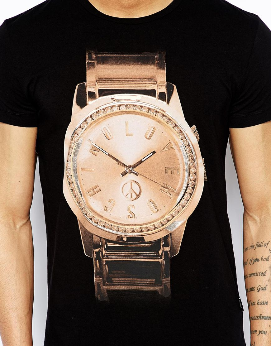 love moschino t shirt gold watch print in black for men lyst gallery