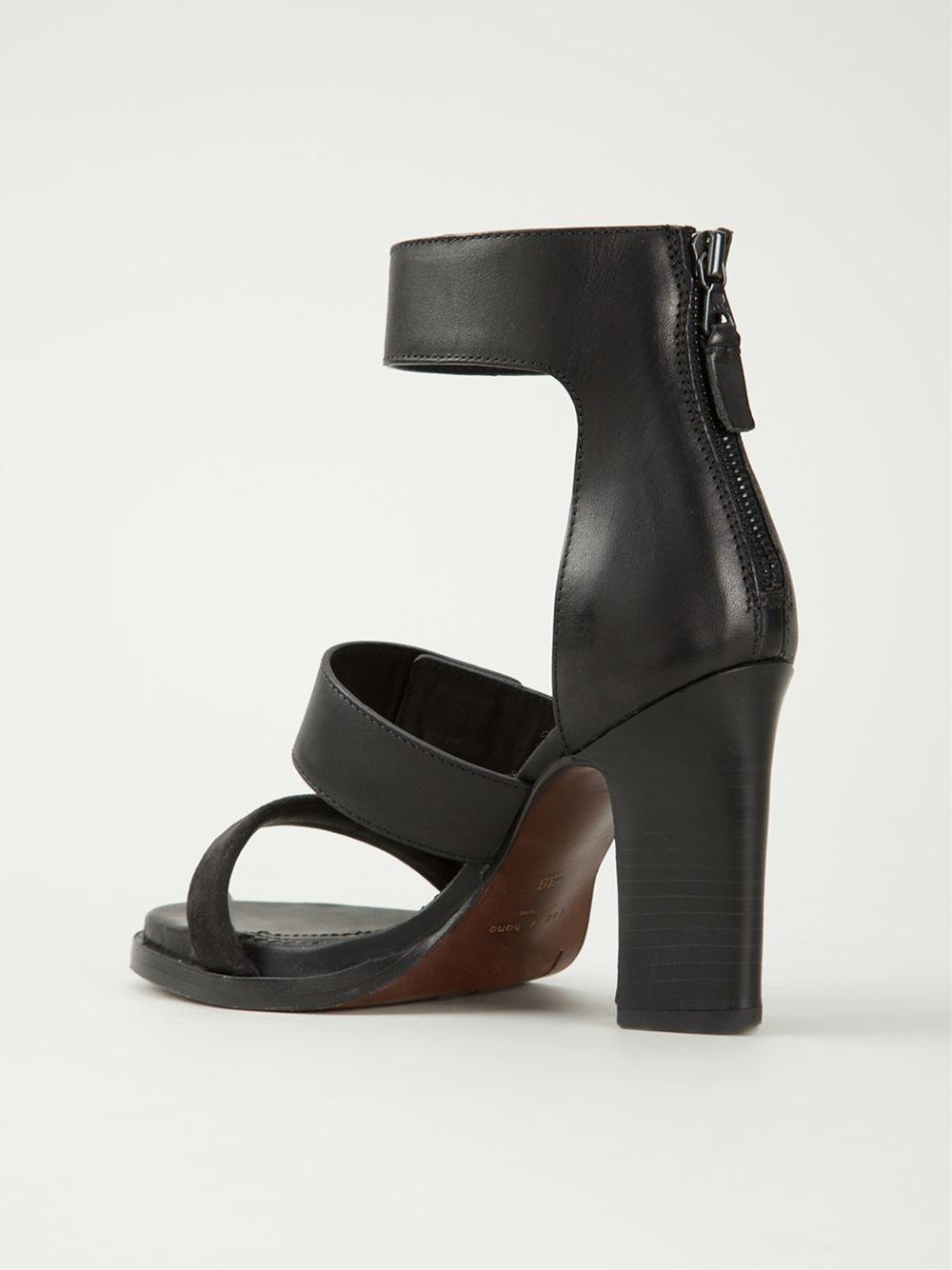 Rag Amp Bone Block Heel Leather Sandals In Black Lyst