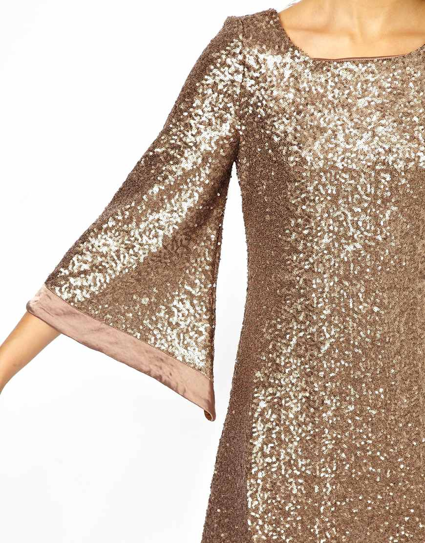 Jarlo Sequin Tunic Dress with Flute Sleeves in Metallic | Lyst
